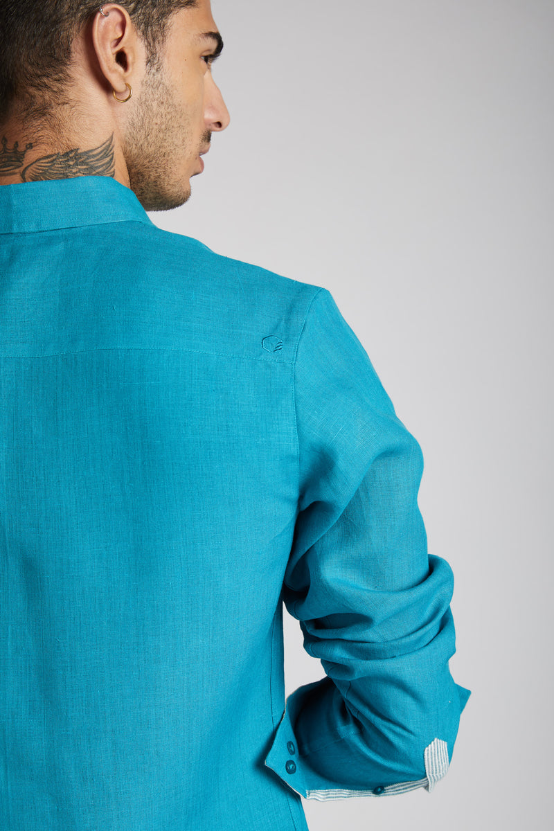 Vortex Color Block Shirt - Teal