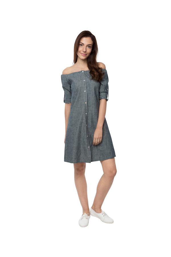 Waterfall Off - Shoulder Dress - Grey Stripes