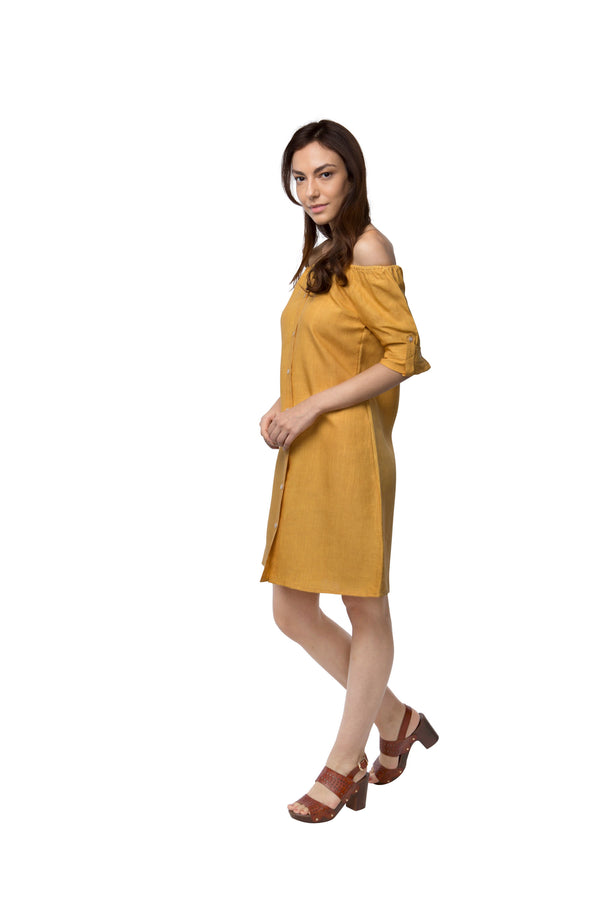Waterfall Off - Shoulder Dress - Yellow