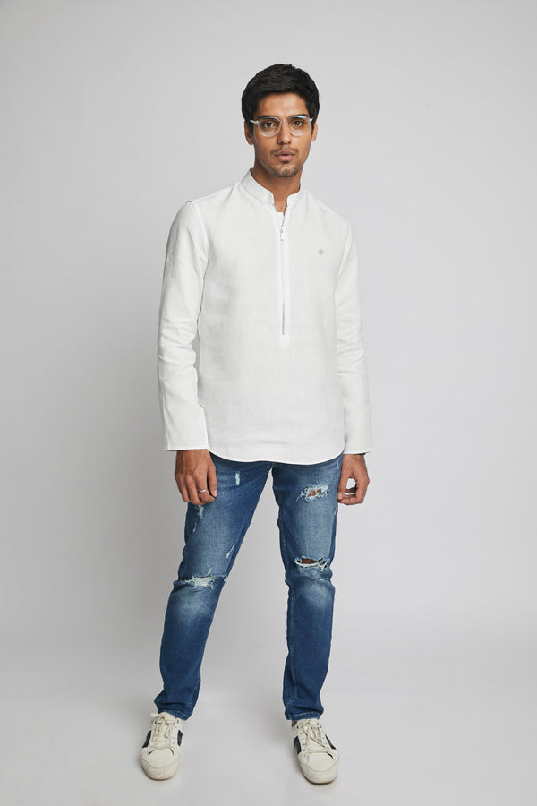 Zeal Zipper Shirt  - White