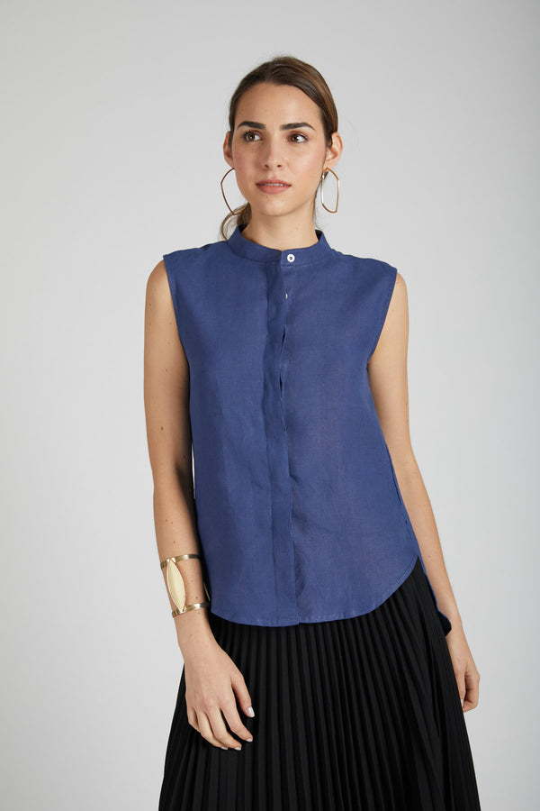 Zephyr Sleeveless Shirt - Navy