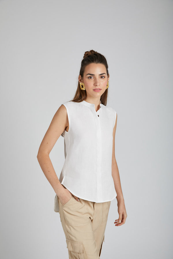 Zephyr Sleeveless Shirt - White