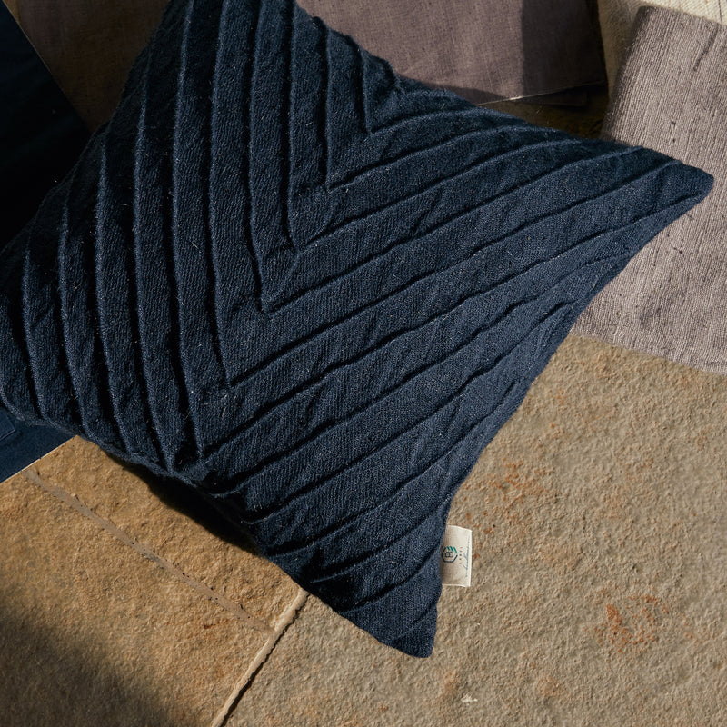 Pleated Cushion Cover - Navy