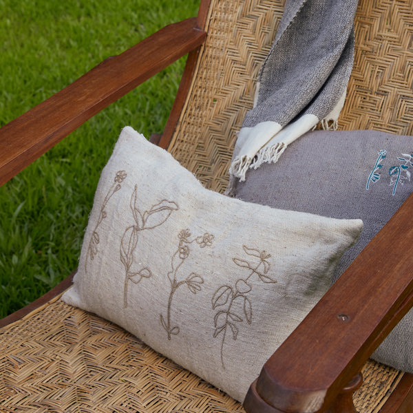 Floral Twined Cushion Cover - Off White