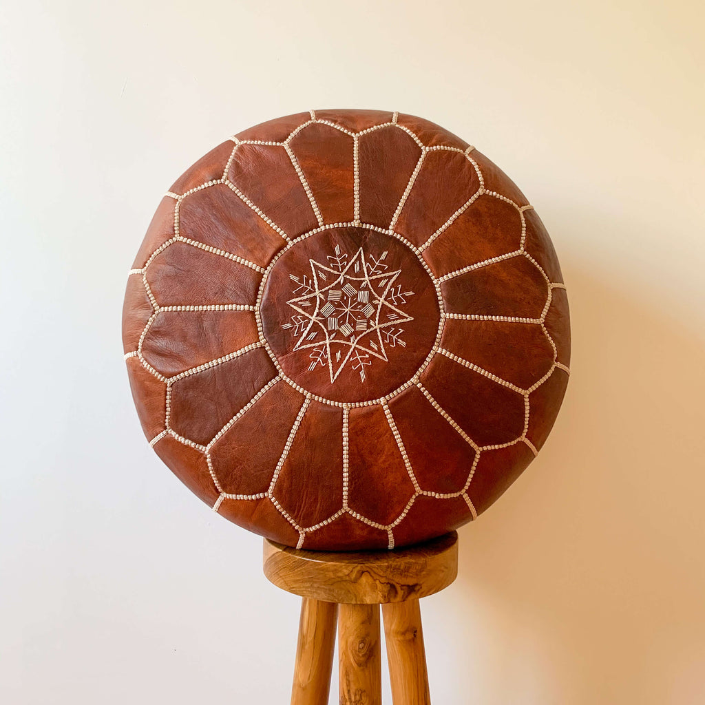 Cognac Leather Pouf