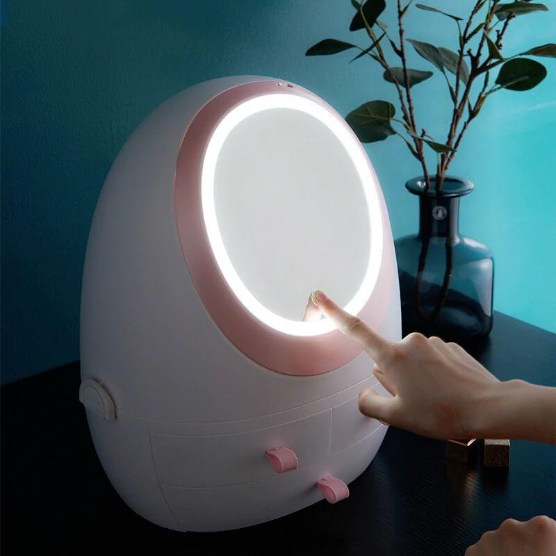 [2019 New Fashion] LED HD Mirror Makeup Storage Box Cosmetic Organizer Case