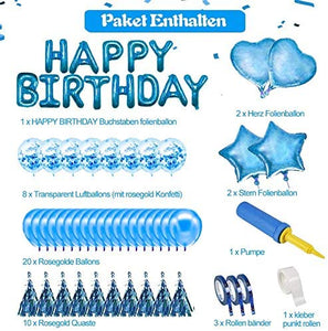 ANEAR Blue Birthday Decorations Party Supplies Set (50 PC), Balloons, Tassels, Banner, Dispensing, Pump for Birthday Party - Ballerina Party - Bachelorette Party
