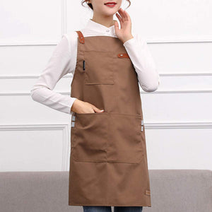 ANEAR Coffee Barber Adjustable Leather Cooking Kitchen Apron for Women Men Chef Waiter Cafe Shop BBQ Hairdresser Aprons Bib Smock
