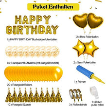 Load image into Gallery viewer, ANEAR Gold Birthday Decorations Party Supplies Set (50 PC), Balloons, Tassels, Banner, Dispensing, Pump for Birthday Party - Ballerina Party - Bachelorette Party