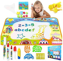 Load image into Gallery viewer, ANEAR Water Doodle Mat, Colorful Writing Blanket, Graffiti Blanket, with Water Graffiti Pen Drawing and Painting Molds, Educational Toys for Toddlers, Children's Educational Gifts