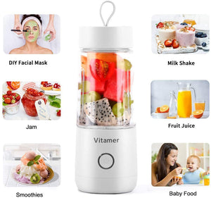 ANEAR Portable Blender Personal Size Blender,Personal Juicer with USB Rechargeable,Cordless Juicer Personal Blender,Mini Mixer with Cup,Fruit Vegetable Juice Blender White