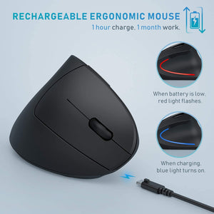 ANEAR 2.4 G Ergonomic Silent Wireless Mouse, Wireless Vertical Mice with USB Receiver for Computer/Laptop/PC, 3 Adjustable DPI (800/1200/1600), Black