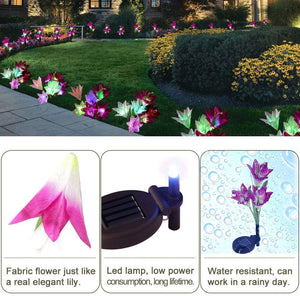 ANEAR Solar Lights, 3 Pack LED Outdoor Garden Flower Lights, Multi-Color Changing Waterproof Solar Flower Lights for Garden Patio Backyard Holiday Decoration