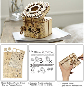 ANEAR Laser Cut Treasure Box 3D Wooden Puzzle - Brain Teasers Model Kits for Adults - Mechanical Construction Model Building