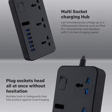 Load image into Gallery viewer, ANEAR Universal Power Strips 3 Way Outlets 6 USB Plug Ports Surge Protection Power Socket Switch Portable Charger with 2M Wall Plug Adapter Extension Cord with Fuse and Shutter Extension Lead