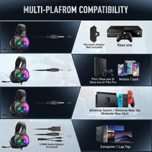 Load image into Gallery viewer, ANEAR Gaming Headset-PS4 Headset with Mic,7.1 Surround Sound & Blue Light Xbox One Headset,Gaming headphones PC Headset with Noise Canceling for PS4, PC, Mac, weidi gaming