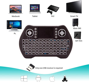 ANEAR Mini Wireless Keyboard with TouchPad Portable Backlit Keypad Keyboard for Computer/Laptop/Tablets/Mac/Google Android TVbox/PS3, PC/PAD Black