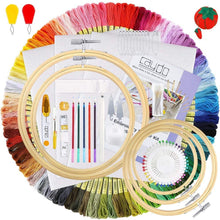 Load image into Gallery viewer, ANEAR Embroidery Kit, Hand Embroidery Starter Kit with 100 Colors Threads, 30 Sewing Pins, 2 Pieces Aida Cloth, Embroidery Hoops and Cross Stitch Tools for Kids and Adults