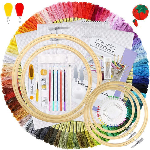 ANEAR Embroidery Kit, Hand Embroidery Starter Kit with 100 Colors Threads, 30 Sewing Pins, 2 Pieces Aida Cloth, Embroidery Hoops and Cross Stitch Tools for Kids and Adults