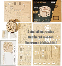 Load image into Gallery viewer, ANEAR Laser Cut Treasure Box 3D Wooden Puzzle - Brain Teasers Model Kits for Adults - Mechanical Construction Model Building