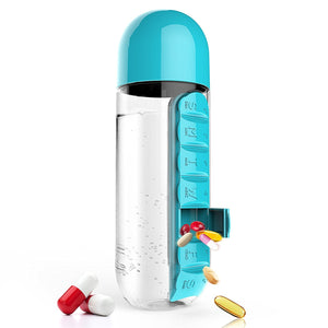 600ML Plastic Water Bottle With Daily Pill Box Organizer Drinking Bottle (5 Colors) - I Have Wanderlust