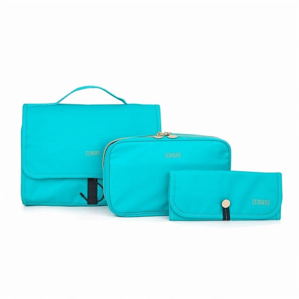 The ECOSUSI Ladies' 3-Piece Essential Toiletry & Cosmetic Travel Set (5 Colors) - I Have Wanderlust