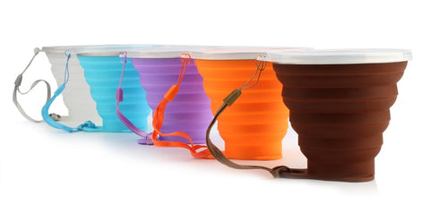 Stainless Steel & Silicone Collapsing Cup With Lanyard & Dust Lid (12 Colors) - I Have Wanderlust