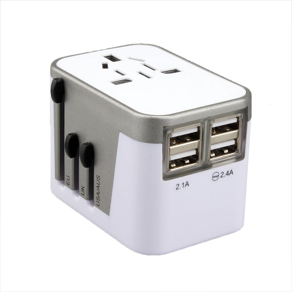 The JOINRUN 2.4A 4-USB US/AU/UK/EU Travel Adapter with LED Power Indicator (3 colors) - I Have Wanderlust
