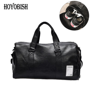 Waterproof Leather Travel Duffel Bag with Shoe Pocket (2 Sizes)