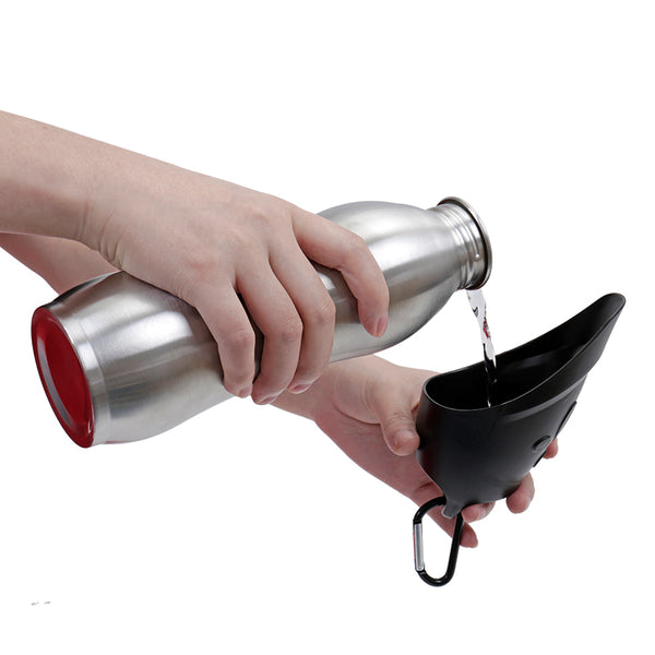 Clip-on Stainless Steel Cold Keeping Pet Water Bottle and Bowl - I Have Wanderlust