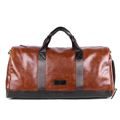 Crazy Horse PU Leather Hand Bag with Shoe Compartment - I Have Wanderlust