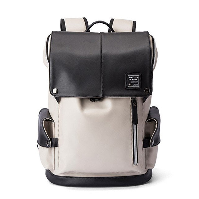 Faux Leather Laptop Backpack with USB Charging Port (2 Colors) - I Have Wanderlust