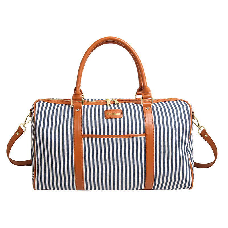 Canvas and Leather Pin-Striped Weekender (3 Colors) - I Have Wanderlust