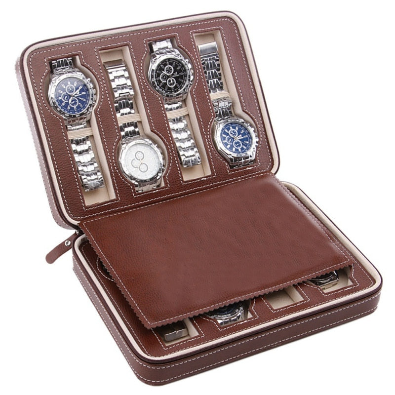 2/4/8 Grid Faux Leather Travel Watch Organizers (2 Colors/3 Sizes) - I Have Wanderlust