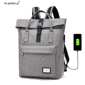 WANGKA Canvas Backpack with USB Charger - I Have Wanderlust