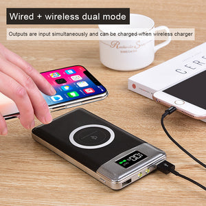 GOLDFOX 10,000mAh Qi Wireless (3 Device) Charger Powerbank With LCD Readout Screen and LED Torchlight - I Have Wanderlust