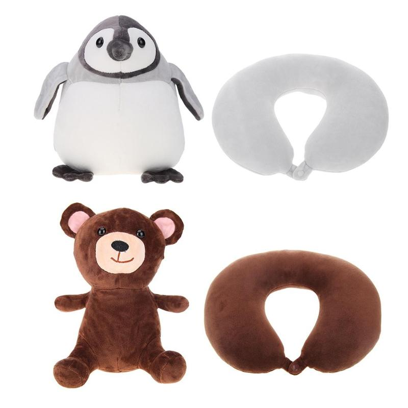 Stuffed Penguin and Bear Transformable U-Shaped Kids Neck Pillow - I Have Wanderlust