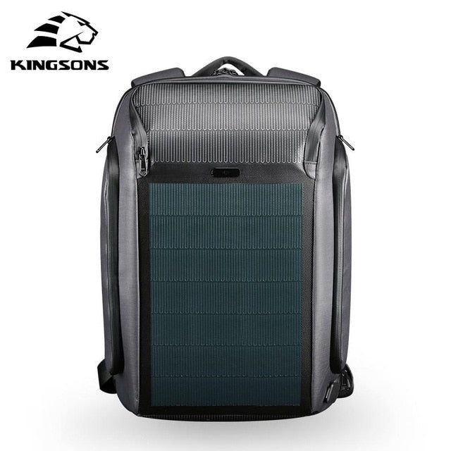 KINGSONS Ultra Secure, Anti-Theft Smart Solar Panel Backpack with USB Charger