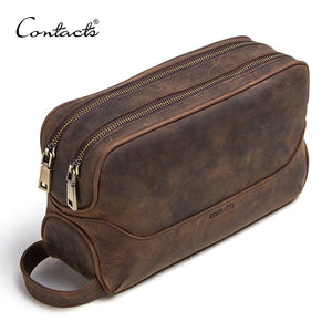 CONTACT'S Vintage Crazy Horse Genuine Leather Men's Dopp Kit Bag