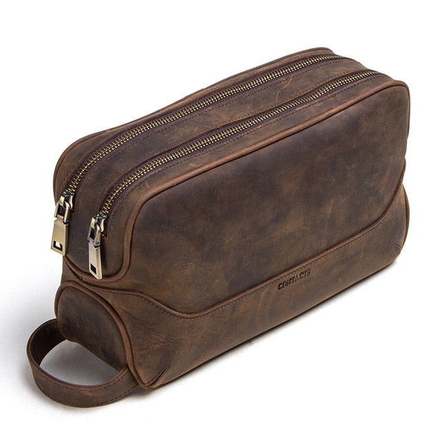 CONTACT'S Vintage Crazy Horse Genuine Leather Men's Dopp Kit Bag - I Have Wanderlust