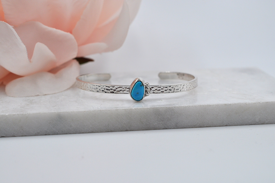 Morenci Turquoise and Silver Cuff Bracelet