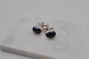 Black Lace Agate and Sterling Silver Cuff Links