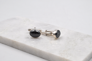 Hematite Cuff Links in Sterling Silver
