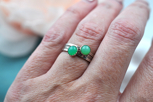 Chrysoprase Mix & Match Sterling Silver Hammered Stacking Ring
