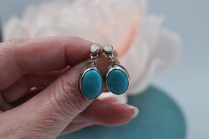 Hubei Turquoise and Rainbow Moonstone Post Earrings