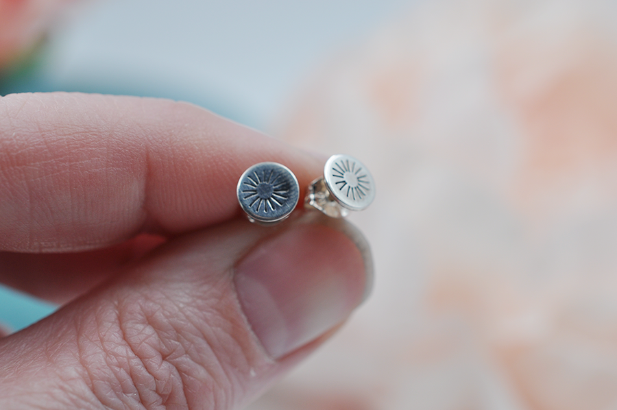 Small Sun Stamped Sterling Silver Post Earrings