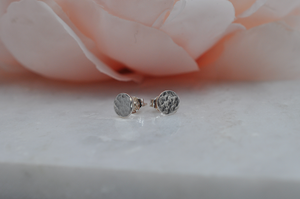 Small Sterling Silver Hammered Circle Post Earrings