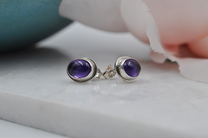 Oval Amethyst and Silver Post Earrings