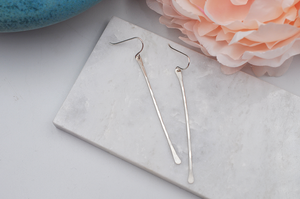 Modern Long Straight Dangle Sterling Silver Earrings