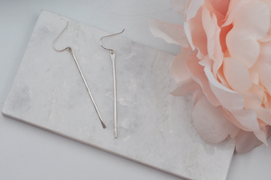 Hammered Sterling Silver Dangle Stick Earrings
